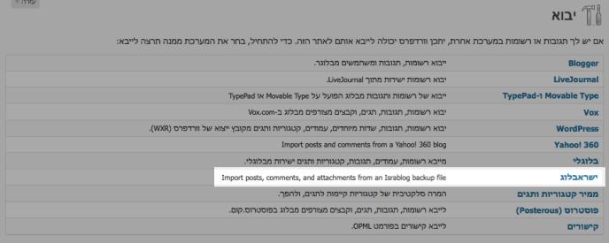 צילום מסך של אפשרויות היבוא עם הדגשה על ישראבלוג